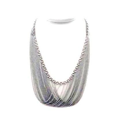 "Sergio Gutierrez Liquid Metal Soft Bib Mesh Ball Chain Necklace 20 1/2"""