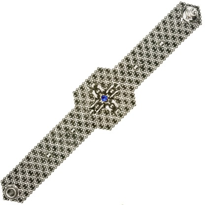 Sergio Gutierrez Liquid Metal Mesh Wide Cuff Bracelet Coss Setting Blue Sapphier Crystal Center