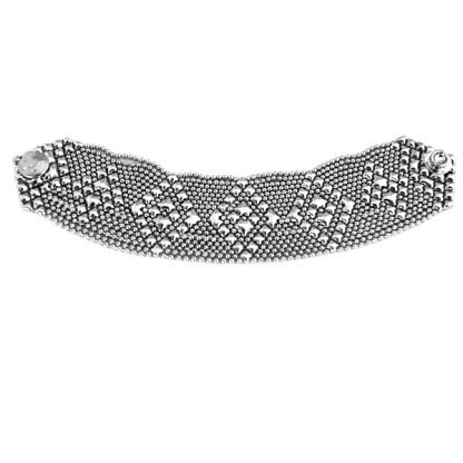 Sergio Gutierrez Liquid Metal Mesh Cuff Bracelet Tiny Ball Diamnd Pattern TB32