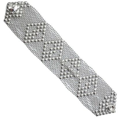 Sergio Gutierrez Liquid Metal Mesh Cuff Bracelet Tiny Ball Wide Diamond Pattern TB33