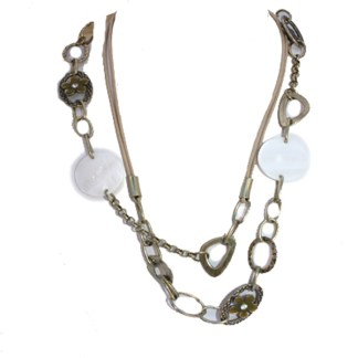 Long Linked Mother of Pearl Crystal Flower Enamel Detail Gold Plated Necklace