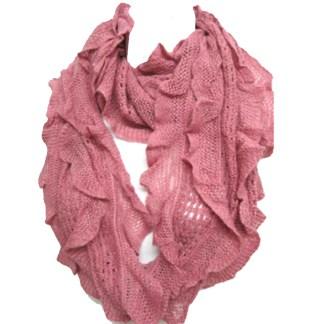Elegant Pink Soft Woven Infinity Loop Figure Eight Endless Scarf Wrap