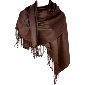 Nepal Solid Coffee Brown 2 Ply Pashmina Shawl Scarf Stole