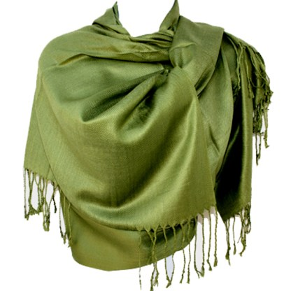 Nepal Solid Olive Green 2 Ply Pashmina Shawl Scarf Stole