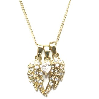 Guardian Angel Protect Me Heart & Wings Sliding Charms 18Kt Gold PL Necklace 18""