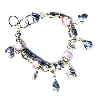 It's a Girl Gift Idea New Mom Baby Shower Pink Silver Sliding Charm Bracelet
