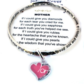 Mom's Heart Charm Infinity Silver Bangle Engraved Poem Bracelet Mothers Day Gift