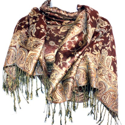 Silver Fever Pashmina - Jacquard Paisley Shawl - Stylish Scarf - Double Sided Wrap Coffe Brown Shades