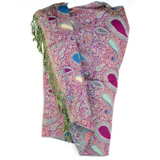 Vintage Paisley Teardrop Twist Rich Double-Sided Pashmina Shawl Scarf Fuchsia Turquoise