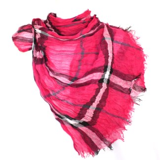 Long Preppy Style Checkerboard Plaid Print Soft Coral Red Cotton Blend Scarf