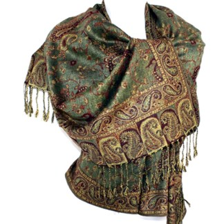 Silver Fever Pashmina - Jacquard Paisley Shawl - Stylish Scarf - Double Sided Wrap Olive Sand