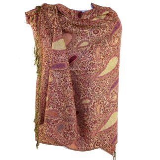 Vintage Paisley Teardrop Twist Rich Double-Sided Pashmina Shawl Scarf Wine Sand