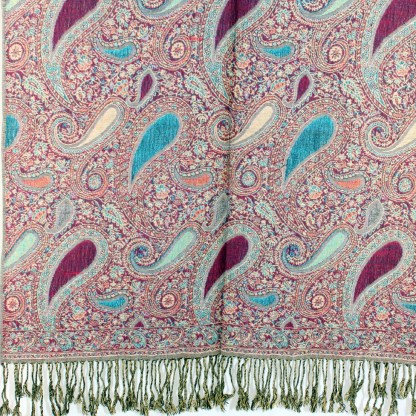 Vintage Paisley Teardrop Twist Rich Double-Sided Pashmina Shawl Scarf Wine Blue