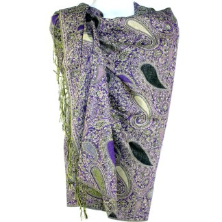 Vintage Paisley Teardrop Twist Rich Double-Sided Pashmina Shawl Scarf Purple Black