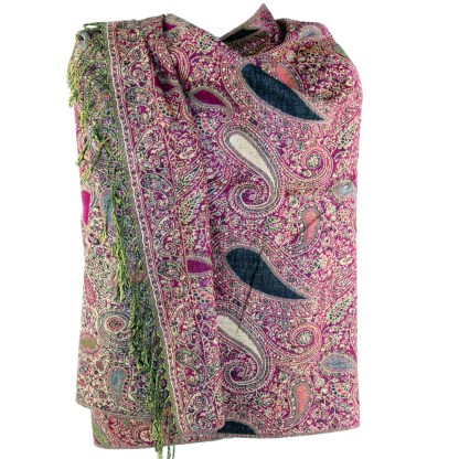 Vintage Paisley Teardrop Twist Rich Double-Sided Pashmina Shawl Scarf Fuchsia Blck