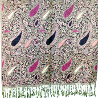 Vintage Paisley Teardrop Twist Rich Double-Sided Pashmina Shawl Scarf Dark Brown Pink