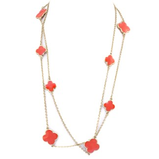 "48"" Long Gold Plated Chain Coral Red Enamel 4 Leaf Clover Charm Fashion Necklace"
