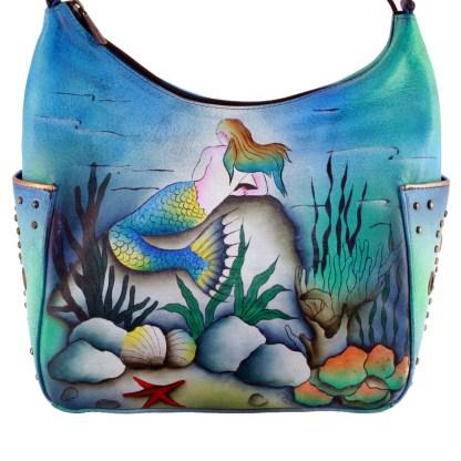 Anushcka Hand Painted Leather Hobo Handbag Blue Little Mermaid Under The Sea