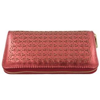 Silver Fever® Perforated Ladies Zip Around Organizer Wallet Clutch Metallic Burgundy