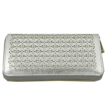 Silver Fever® Perforated Ladies Zip Around Organizer Wallet Clutch Silver