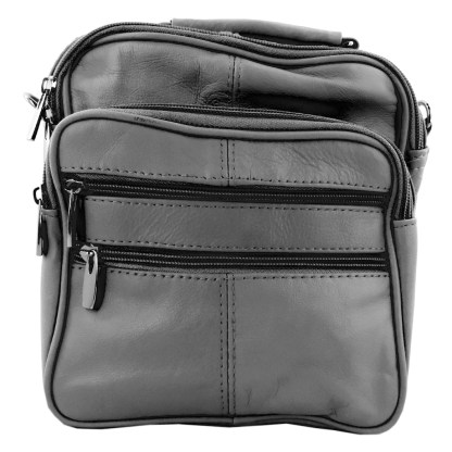 Genuine Leather Gray Travel Men's Organizer Handbag