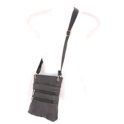 Genuine Leather Black Small Shoulder Cross Body Travel Mini Purse Bag