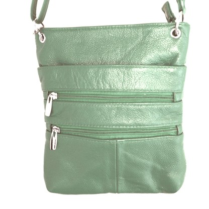 Genuine Leather Light Green Small Shoulder Cross Body Travel Mini Purse Bag
