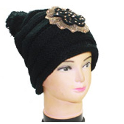 Silver Fever Crochet Hat Winter Beanie Jeweled Flower & Pom-pom