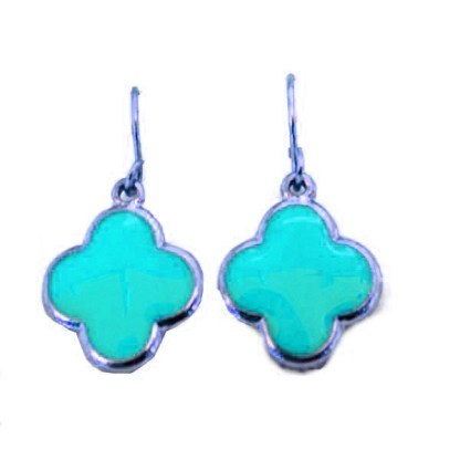 Lucky Four Leaf Clover Euro Inspired Gold Plated Turquoise Enamel Drop Earrings