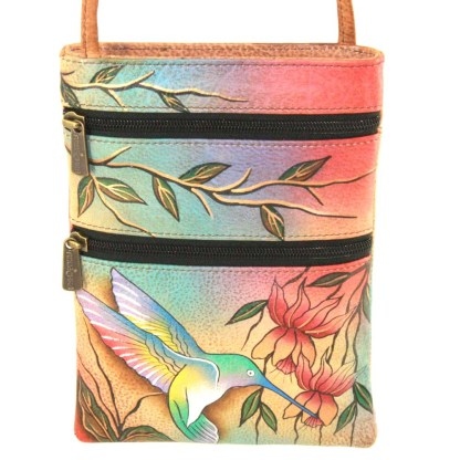 Anuschka Gen Leather Small Travel Companion Bag Handpainted Flying Jewel Lotus