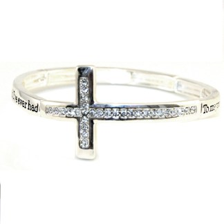 Sideway Cross Silver CZ Adj Bangle Bracelet Best Friend I Ever Had Friends Gift