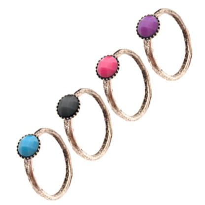 Stackable Silver Plated Round Center Assorted Colors & Sizes 6 7 8
