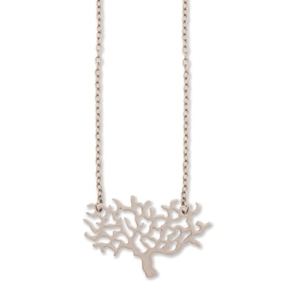 """Matte Silver Rhodium Plated Wide Family Tree Pendant Charm Necklace 16"""" + 2"""""""