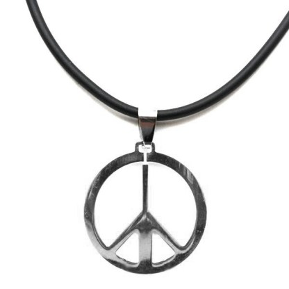 Stainless Steel Peace Sign Symbol Circle Silver Black Man Men's Necklace 18+3""