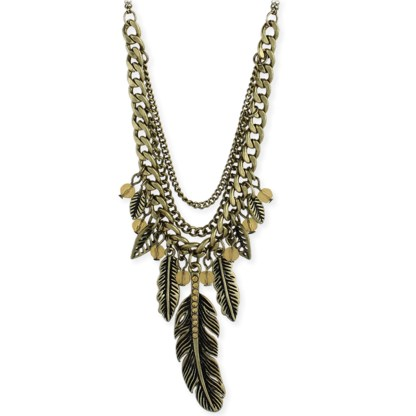 Silver Fever® Multi-Layer Feather Bib Necklace