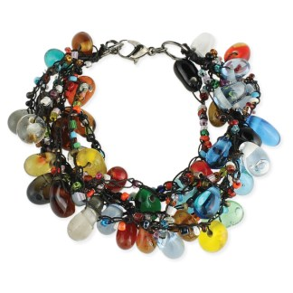 Silver Fever® Multi Strand Thread and Large Glass Bead Bracelet
