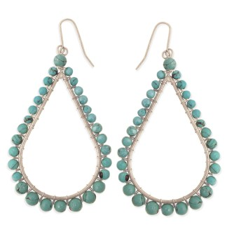 Silver Fever® Turquoise Metal and Stone Teardrop Earrings