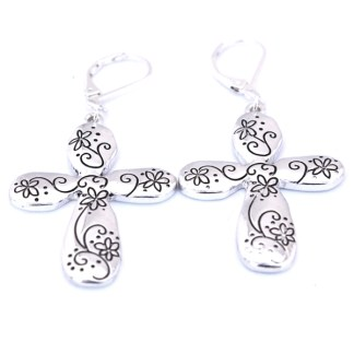 Eurowire Floral Flower Petal Cross Religious Euro Clasp Silver Plated Earrings