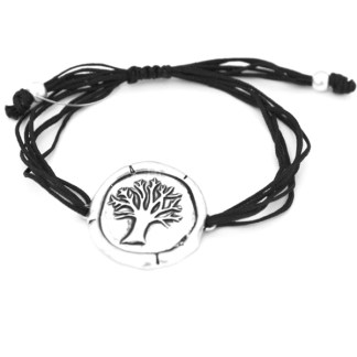 Macramé Sealin Wax Friendship Family Tree Silver Plated Black ID Bracelet