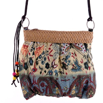 Small Brown Eastern Motif Fabric Straw Accent Cross Body Handbag Messenger Bag