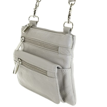 Genuine Leather Gray Small Shoulder Cross Body Travel Mini Purse Bag