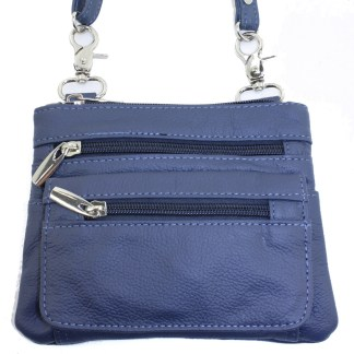 Genuine Leather Blue Small Shoulder Cross Body Travel Mini Purse Bag