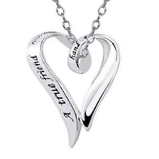 Best Gift Love Frienship True Friend Ribbon Heart Sterling Silver Necklace 18""