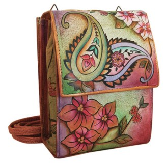 Anuschka Leather Handpainted Mini Sling Organizer Cross Body Bag Jaipur Paisley