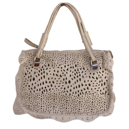 Perforated Medium Satchel Silver Studded Frill Wave Detail Double Handles Gray