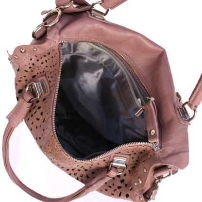 Perforated Medium Satchel Silver Studded Frill Wave Detail Double Handles Mauve