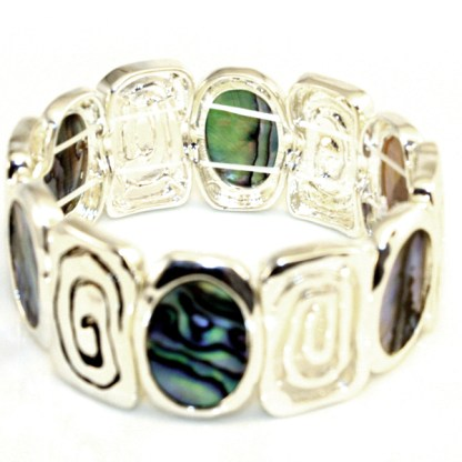 Wide Swirled Detailed Abalone Inlay Adjustable Silver Plated Bracelet