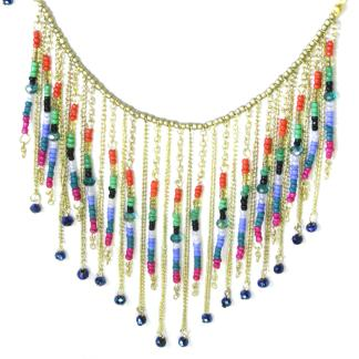 Silver Fever® Tribal Glass Bead Bib Necklace