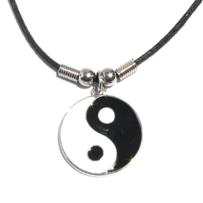 Stainless Steel Yin Yang Harmony Pendant Black Twisted Cord Necklace