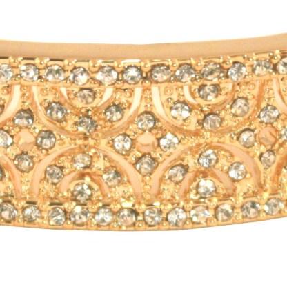 CZ Studded Filigree 18K Gold Plated Bangle Bracelet